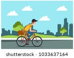delivering goods box by bicycle ... | Shutterstock .eps vector #1033637164