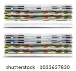open shelf with colored bottles ...   Shutterstock . vector #1033637830