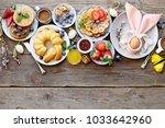 easter dessert table. pancakes...   Shutterstock . vector #1033642960
