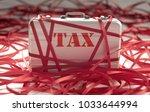 red tape around a briefcase... | Shutterstock . vector #1033644994
