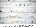 white shelf with books without... | Shutterstock . vector #1033646050