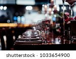 luxury table settings for fine... | Shutterstock . vector #1033654900