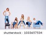studio portrait of happy five... | Shutterstock . vector #1033657534