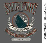 vintage vector surfing and... | Shutterstock .eps vector #1033657678