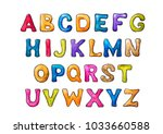 colorful watercolor letters on... | Shutterstock . vector #1033660588