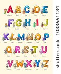 english alphabet with... | Shutterstock . vector #1033661134