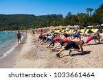 group of people doing sport... | Shutterstock . vector #1033661464