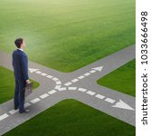 young businessman at crossroads ...   Shutterstock . vector #1033666498