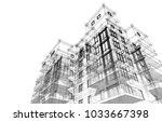 modern architecture building 3d ... | Shutterstock . vector #1033667398