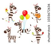 vector set of cartoon funny... | Shutterstock .eps vector #1033672636