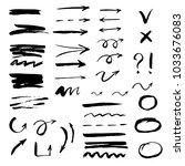 set of hand drawn arrow  line ... | Shutterstock .eps vector #1033676083