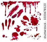 blood splatter set painted... | Shutterstock .eps vector #1033678123