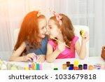 easter holiday  easter eggs ... | Shutterstock . vector #1033679818