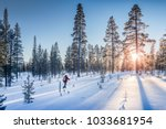 panoramic view of man cross... | Shutterstock . vector #1033681954