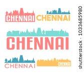 chennai india flat icon skyline ...   Shutterstock .eps vector #1033685980
