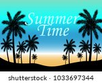 palm silhouettes on summer... | Shutterstock .eps vector #1033697344