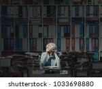 overloaded stressed senior... | Shutterstock . vector #1033698880