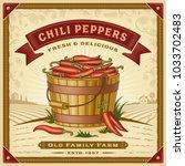 retro chili pepper harvest...   Shutterstock .eps vector #1033702483