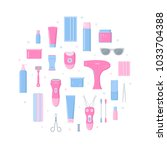 hair removal circle concept...   Shutterstock .eps vector #1033704388