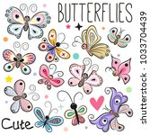 Stock vector set of cute cartoon butterflies isolated on a white background 1033704439