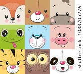 Stock vector set of cute cratoon square animals faces 1033705276