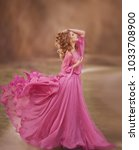 beautiful girl in a pink dress... | Shutterstock . vector #1033708900