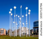 Small photo of Maastricht, Netherlands, February 2018. Sculpture with 35 aluminium stars by Maura Biava to commemorate the tenth anniversary of the Maastricht Treaty, the basis of the European Union