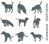 vector dogs silhouettes. set of ... | Shutterstock .eps vector #1033718194