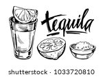 tequila shot with lime. hand... | Shutterstock .eps vector #1033720810