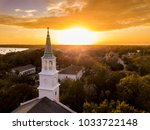 aerial view of historic church... | Shutterstock . vector #1033722148