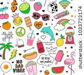 cute fun doodles seamless... | Shutterstock .eps vector #1033723174