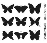 butterfly animal silhouette... | Shutterstock .eps vector #1033728739