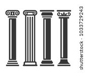 ancient columns icon set.  | Shutterstock . vector #1033729243