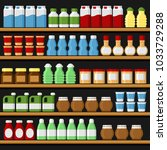 supermarket. shelfs shelves... | Shutterstock . vector #1033729288