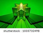 Green Glass Geometric Figure...