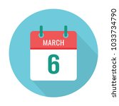march 6 calendar icon flat.... | Shutterstock .eps vector #1033734790