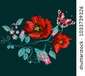 embroidery roses  poppies and...   Shutterstock .eps vector #1033739326