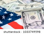 us dollar currency  banknotes... | Shutterstock . vector #1033749598