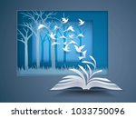 open book with bird flying from ... | Shutterstock .eps vector #1033750096