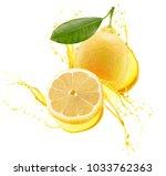 lemons in juice splash isolated ... | Shutterstock . vector #1033762363