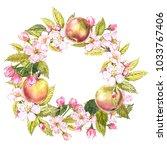 hand drawn watercolor wreath of ... | Shutterstock . vector #1033767406