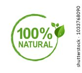 100  natural logo symbol... | Shutterstock . vector #1033768090