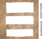 ripped paper set with cardboard ... | Shutterstock . vector #1033774690