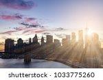 new york city colorful skyline... | Shutterstock . vector #1033775260