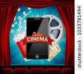 online cinema. banner with... | Shutterstock . vector #1033781494