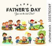 set happy fathers day greeting... | Shutterstock .eps vector #1033783369