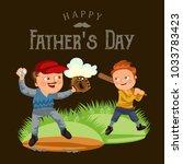 dad in baseballcap with ball... | Shutterstock .eps vector #1033783423