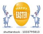 happy easter. funny rabbits...   Shutterstock .eps vector #1033795813