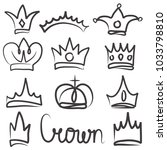 hand drawn crowns logo and icon ... | Shutterstock .eps vector #1033798810