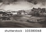 Black Ink Landscape